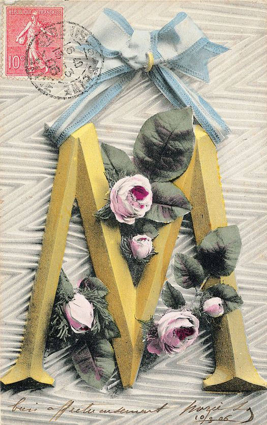 The Letter M from the Alphabet Card: vintage typography postcards from the early 1900s.