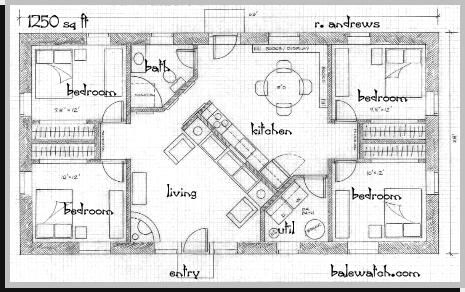 A straw bale house plan 1250 sq ft cob houses for 1250 sq ft bungalow house plans