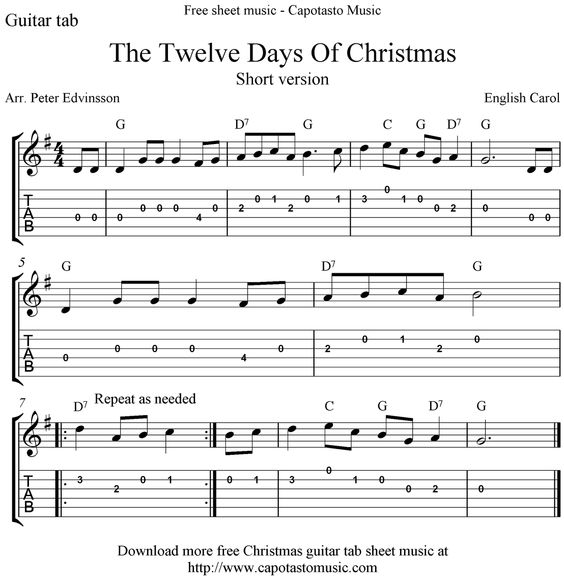 Free Sheet Music Scores: The Twelve Days Of Christmas