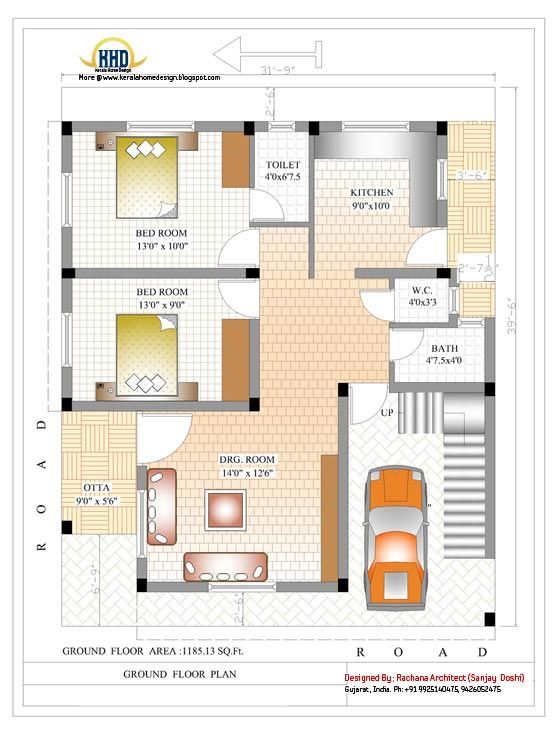 1500 Sq Ft House Plan With Elevation Three Bedrooms Are Attached Bathrooms Drawing And Dining 1500 Sq Ft House Ranch House Plans House Plans With Pictures