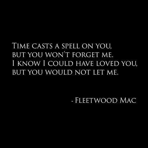 FleetwoodTime casts a spell on you but you won't forget me. I know I could have loved you but you would not let me. #silversprings  #FleetwoodMac