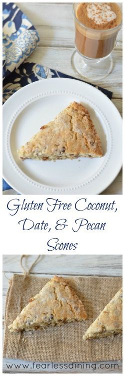 Gluten Free Coconut, Date, and Pecan Scones http://www.fearlessdining ...
