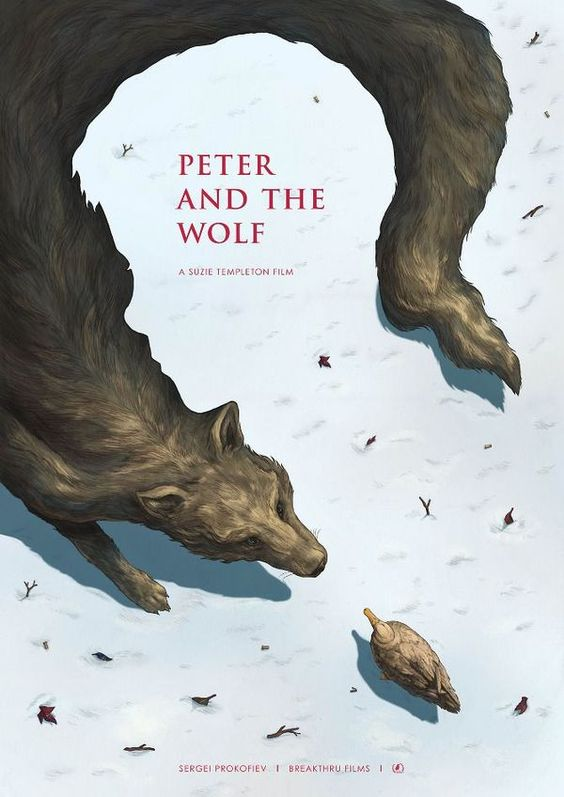 Peter and the Wolf, illustrated by Phoebe Morris. Use of negative space on the book cover.: