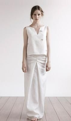Amanda Garrett #wedding #dress #linen #sleeveless