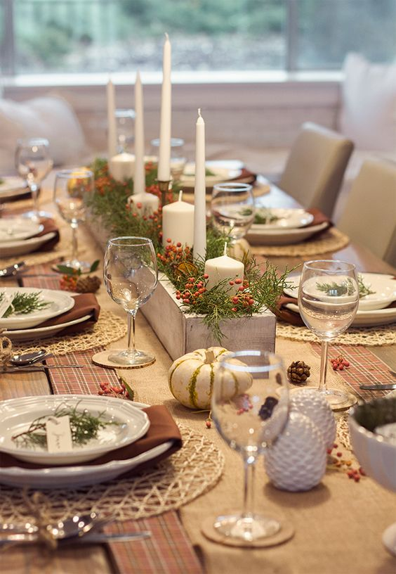 Our Thanksgiving Tablescape.  Luv that white wood box, vintage and rustic both.  LED candles.