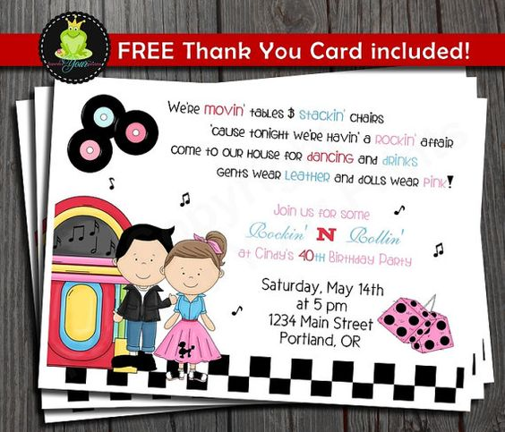 Sock Hop Birthday Invitation  50's theme by ForeverYourPrints, $12.00