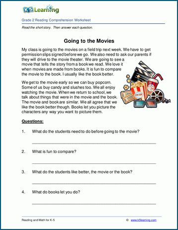 Going To The Movies Grade 2 Childrens Story K5 Learning Reading Comprehension Worksheets Comprehension Worksheets Reading Comprehension
