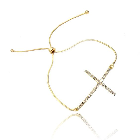 Pulseira Crucifixo Cristal | Moniky Semi Jóias