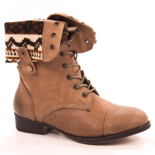 Sharper1 Taupe PU Tan Womens Combat Boot Aztec Lining Lace Up ...