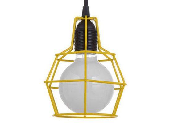 Luminária Pendente Meriti Amarela # Oppa 159 R$