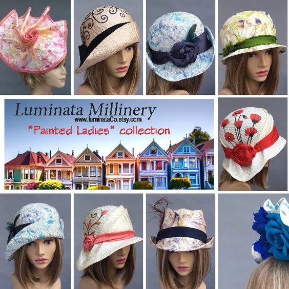"""My new Summer 2016 collection """"Painted Ladies"""". All hats are hand painted by me; some are painted on the straw before the hat is created, and some are painted after the hat is finished. Please feel free to convo me if you have any questions. Enjoy! Chris"""