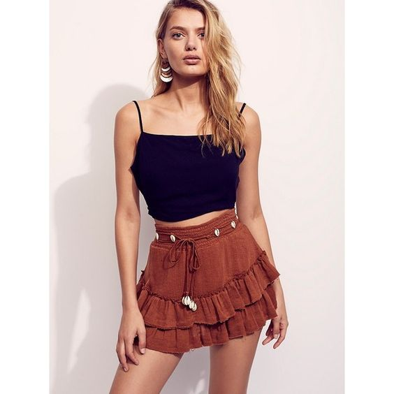 Cowrie Mini ($100) ❤ liked on Polyvore featuring skirts, mini skirts, layered skirt, summer skirts, summer mini skirts, sheer mini skirt and short red skirt