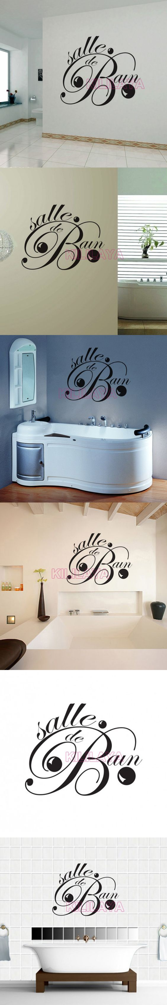 Stickers french salle de bain vinyl wall sticker for - Pvc mural salle de bain ...