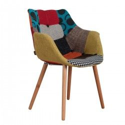 Chaise design Romy patchwork multicolore