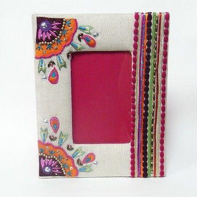 刺繍フォトフレーム 花+リボン