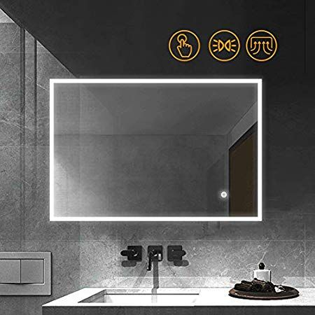 Gatesea 1000x600mm Illuminated Led Bathroom Mirror Anti Fog Led Mirrors With Lights Touch Switch Control Horizontal Fitting Bathroom Mirror