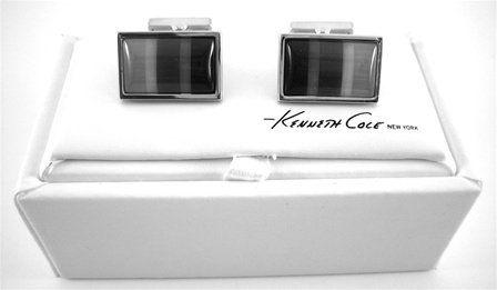 Amazon.com: Kenneth Cole New York Gray Fiber Optic Rect. Cufflinks: Jewelry