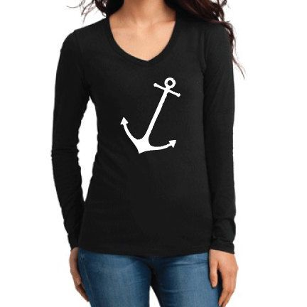 Misc Clothing Tilted Anchor Long Sleeve V-Neck by NattieDuds