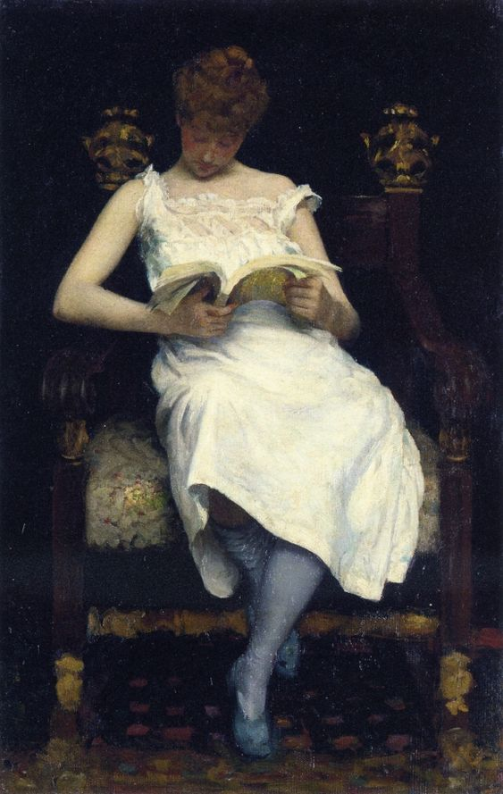 29-10-11  Girl Reading  Edward E. Simmons - 1893  Private collection  Painting - oil on canvas