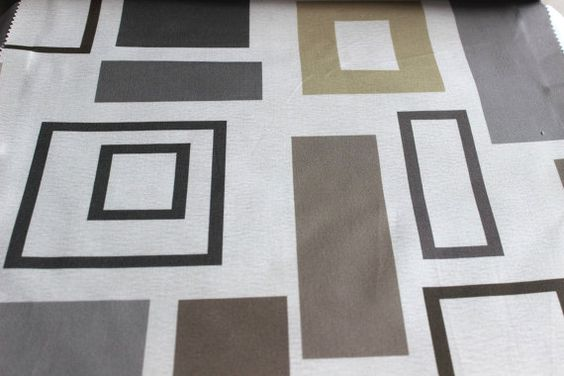 Shades Of Grey Rectangles Fabric By The Yard Curtain by FabricMart