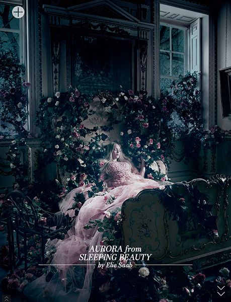Aurora from Sleeping Beauty by Elie Saab, at Harrods november editorial. Disney Princesses by fashion designers.