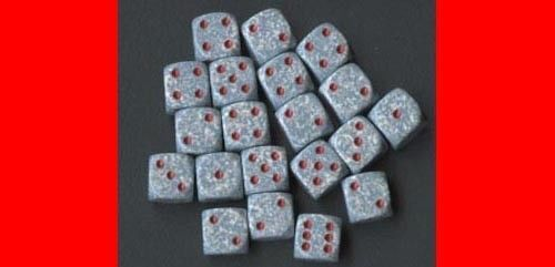 6  12MM BLUE GRAY /RED D6 DICE CHX25900 WARHAMMER 40K #Chessex