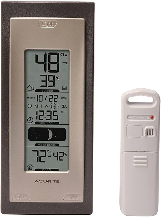Amazon Com Acurite 00592a4 Wireless Indoor Outdoor Thermometer With Humidity Sensor Home Kitchen In 2020 Outdoor Thermometer Humidity Sensor Hobby Greenhouse