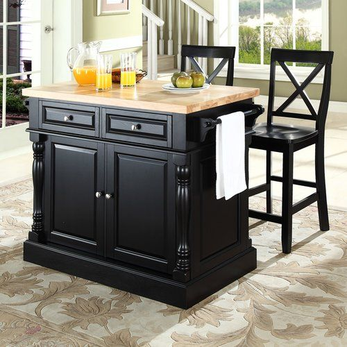 Three Posts Haslingden 3 Piece Kitchen Island Set With Butcher Block Top Reviews W Butcher Block Island Kitchen Stools For Kitchen Island Butcher Block Top