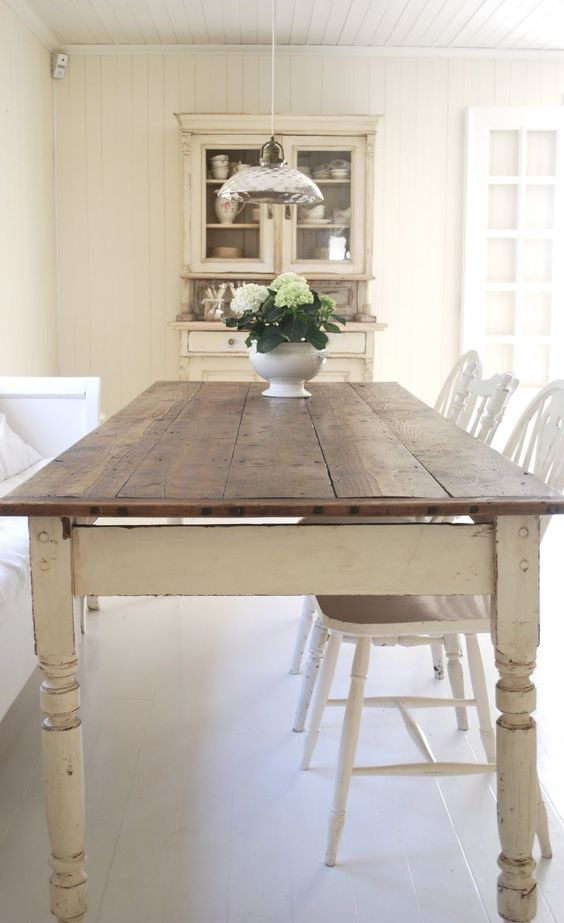 this is so easy to achieve with an old farmhouse table. Just paint the base and wax the top! Similar one available at The Packhouse x