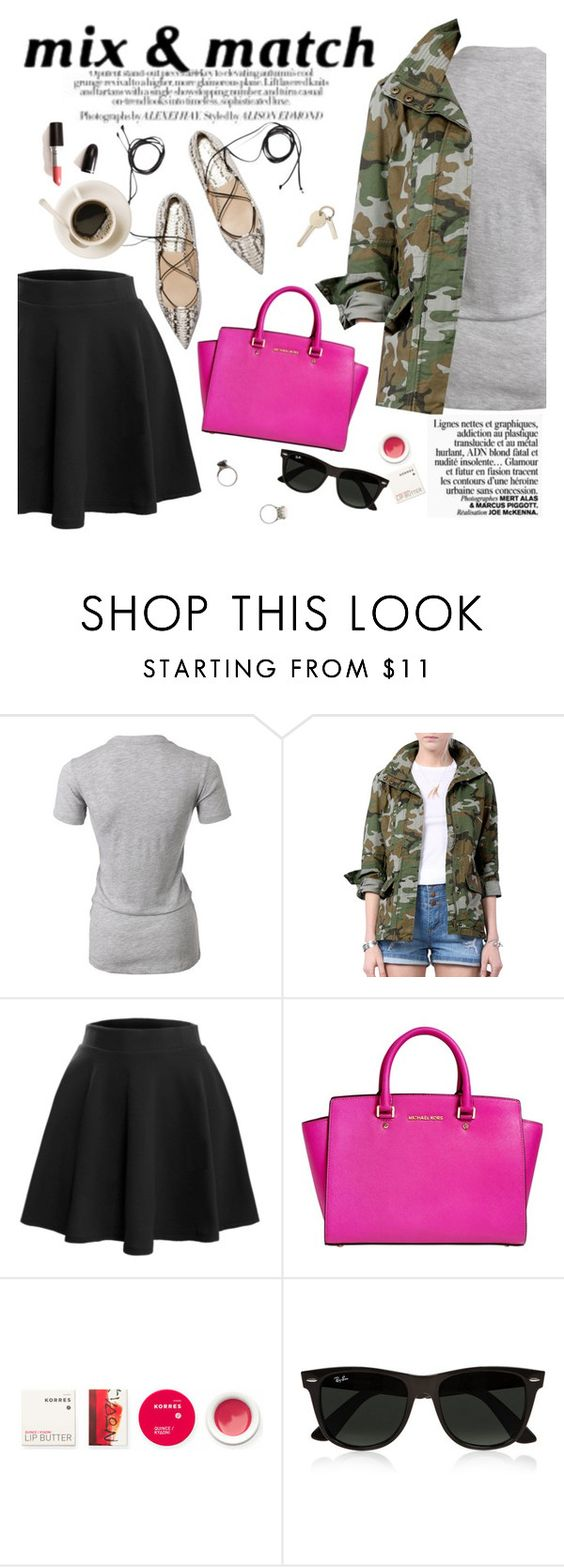 """Mix&match"" by punnky ❤ liked on Polyvore featuring LE3NO, MICHAEL Michael Kors, Korres, Ray-Ban and Iosselliani"