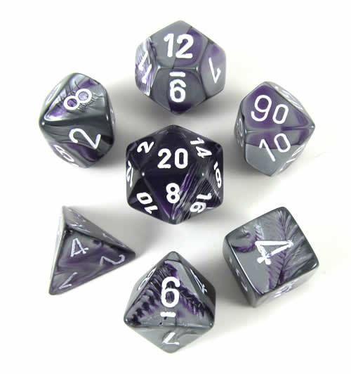 Chessex 7 Dice Set Gemini Purple Steel w// White CHX 26432 for D/&D /& D20