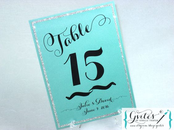 Glitter table numbers, turquoise blue and glitter, elegant table signs, bling table cards, custom table numbers. {5.25x7.25} by Gvites on Etsy https://www.etsy.com/listing/268440426/glitter-table-numbers-turquoise-blue-and