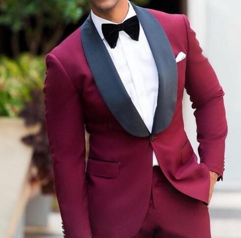 Burgundy Wedding Tuxedos Black Shawl Lapel Mens Business Suit Jacket +  Pants + BowGroomsmen Suits Spring 2021 Wedding Suits From Yymdress, $58.73    DHgate.Com   Black tuxedo wedding, Mens wedding tux, Wedding outfit men