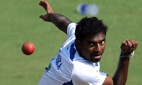 The Sri Lanka legend Muttiah Muralitharan. Photograph: Indranil Mukherjee/AFP/Getty Images
