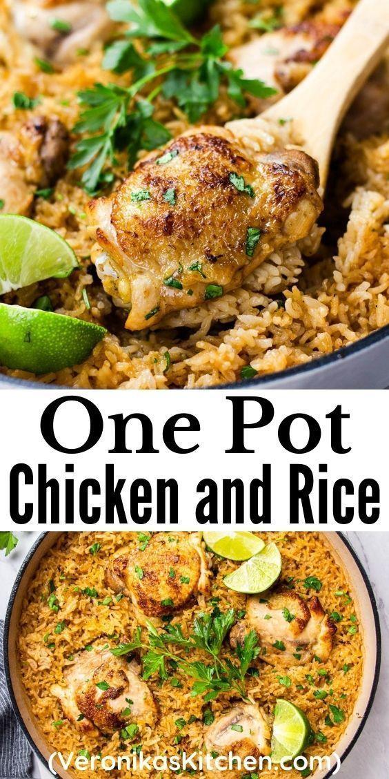 One Pot Chicken And Rice Veronika S Kitchen Recipe In 2021 Poultry Recipes One Pot Chicken One Pot Meals