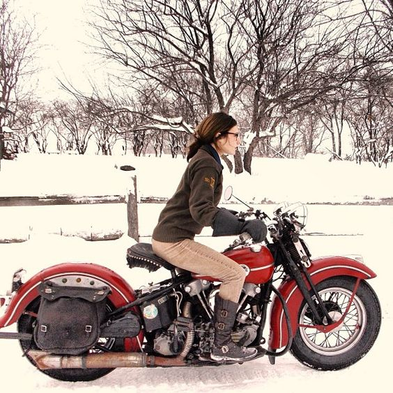 Image result for biker girl snow