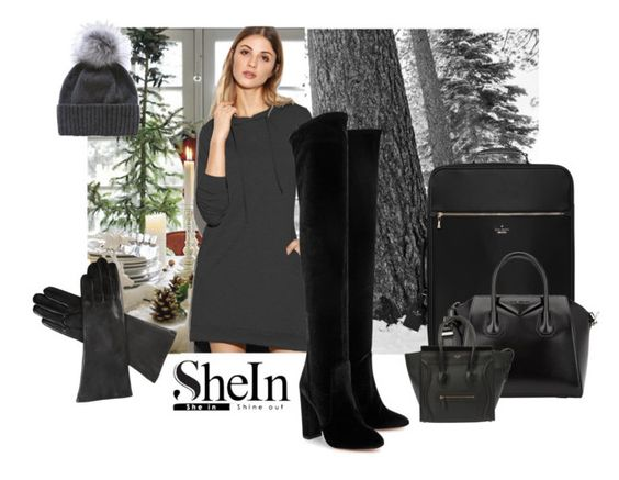 """Shein Sweatshirt Dress"" by lavalu-1 ❤ liked on Polyvore featuring SOREL, Aquazzura, Kate Spade, Givenchy and Dents"