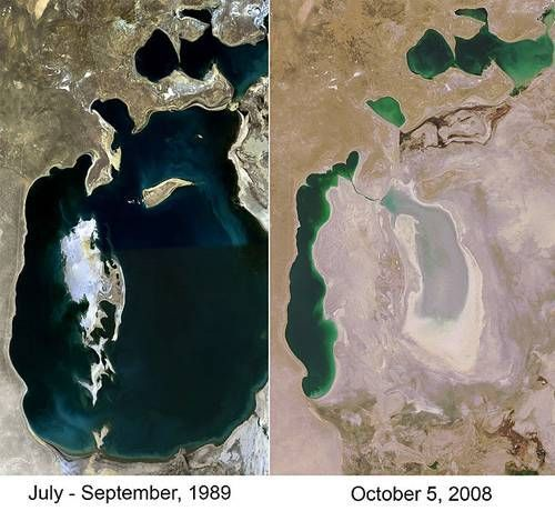Aral Sea  The Aral Sea is the poster child for large, dried-up bodies of water. If you travel to the Aral Sea, which sits on the border between Kazakhstan and Uzbekistan, you'll find a disconnected collection of small ponds of sea water sitting in a dusty bowl that held what used to be one large body of water.