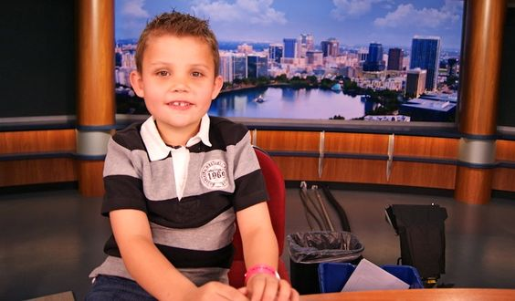 Caden visits WFTV Channel 9 News station