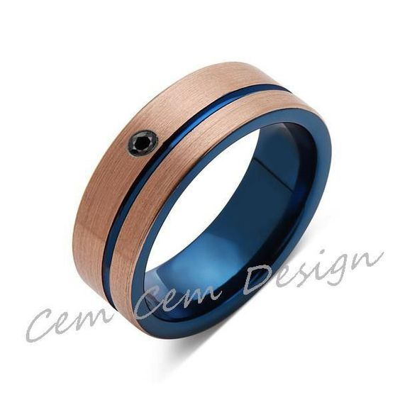 8mm,Black Diamond,Brushed Rose Gold and Blue,Tungsten Ring,Mens Wedding Band,Blue Mens Ring,Comfort Fit