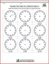 printable time worksheets telling the time to 1 minute draw the hands on the clock or write. Black Bedroom Furniture Sets. Home Design Ideas