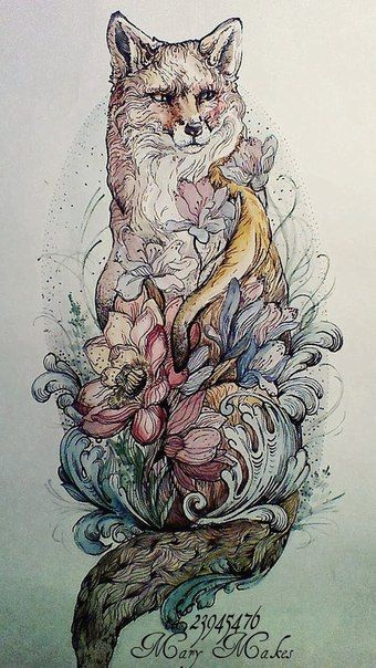 Fox tattoo on sketch (on paper) new school by Vera Sahar