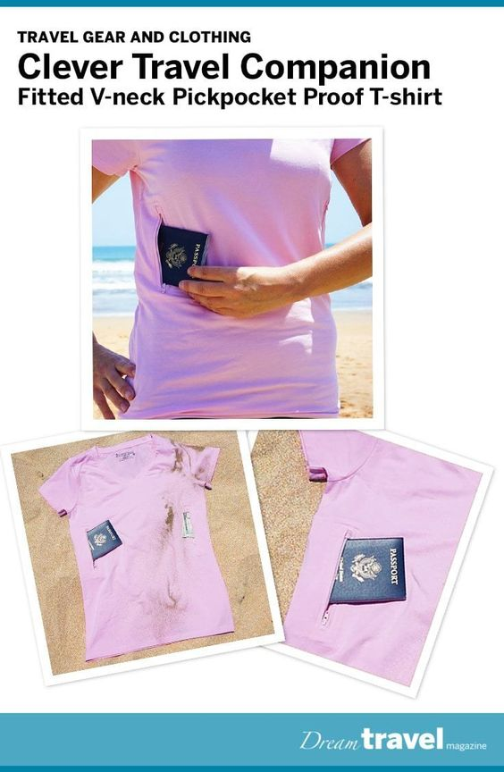 The Clever Travel Companion pickpocket proof t-shirt is not just a safe travel shirt but also fashionable. It comes in 4 colours, is super lightweight and great for both travelling and working out.