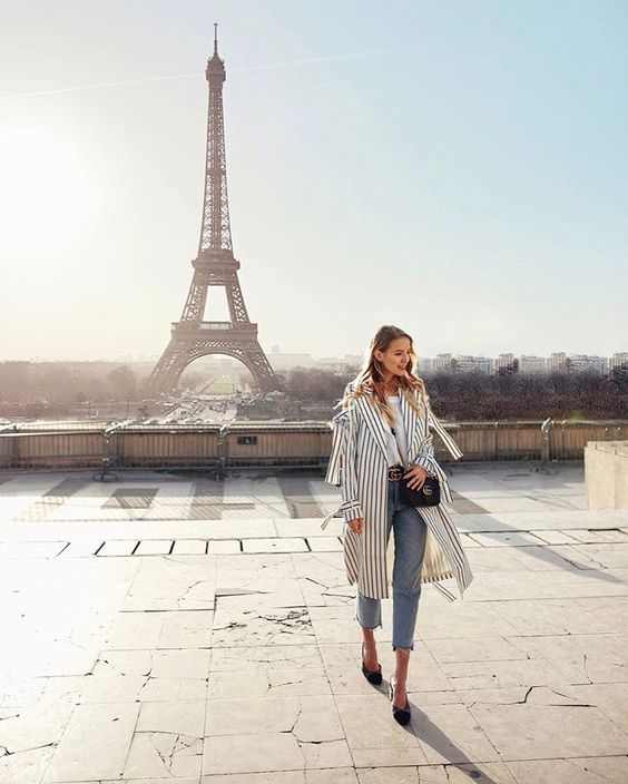 """44.7k Likes, 554 Comments - Leonie Hanne (@ohhcouture) on Instagram: """"Wearing stripes for an early morning date with the Lady herself. 🗼 @asos #AsSeenOnMe #LTKxPFW…"""""""