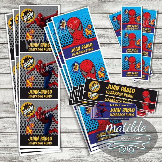 #etiquetasescolares para este #regresoaclases de #tiendamatilde, #SpiderMan, pedidos al 6671600257 o info@tildetienda.com