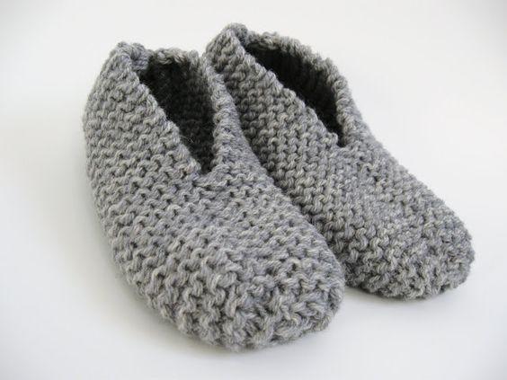 Patron gratuit de pantoufle facile au tricot: