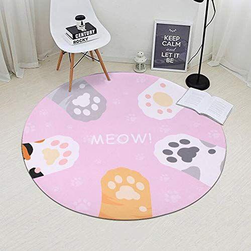 Circle Round Rug Non-Slip Shaggy Machine Washable Mat Bedroom Floor Carpet US