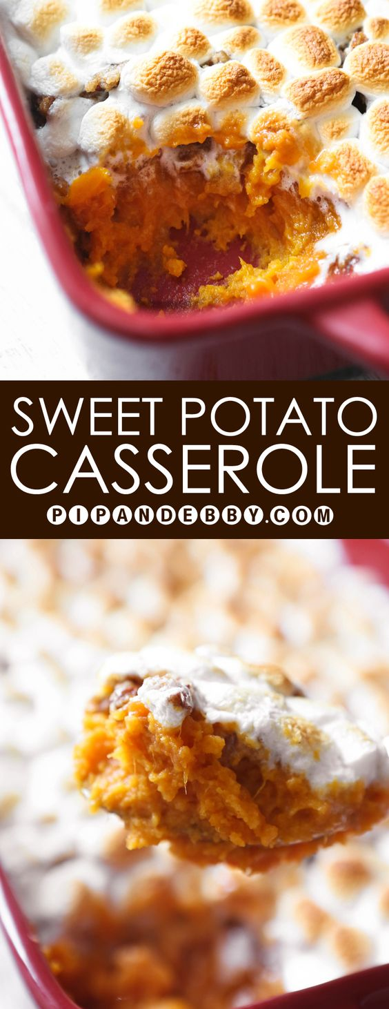 Sweet Potato Casserole | This side dish is SO YUMMY and is sure to please everyone, kids and adults alike.