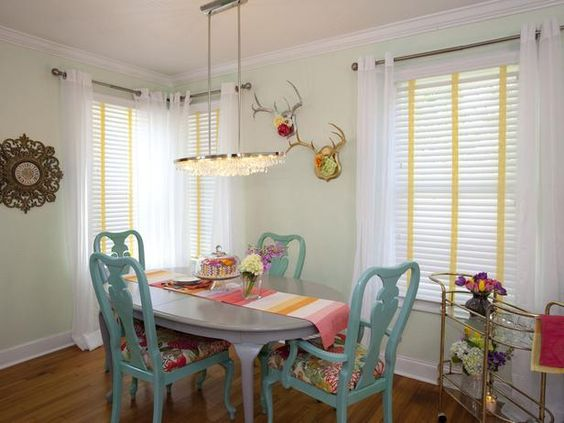Color inspiration of the day:  Robin's Egg Blue--> http://hg.tv/zsqq: Dining Rooms, Property Brothers, Turquoise Chair, Table And Chairs, Dining Table, Color, Diningroom