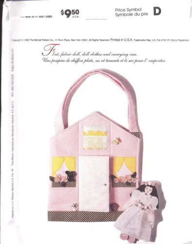 8207 Mccalls Sewing Pattern Craft Flat Fabric Doll Clothes Carrying Case   eBay